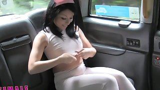 FemaleFakeTaxi Cute Asian has Lesbian bonnet sex with big tits MILF