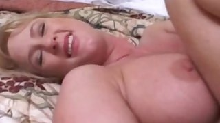 Wide spreading blonde MILF