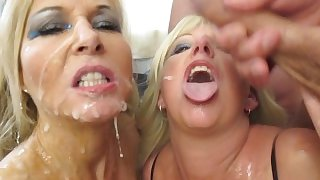 Twin Milf bukkake - British blondes are cum covered !